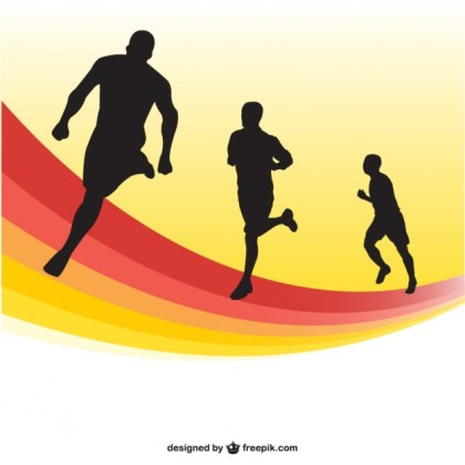 Running Race Silhouettes Background Free Vector
