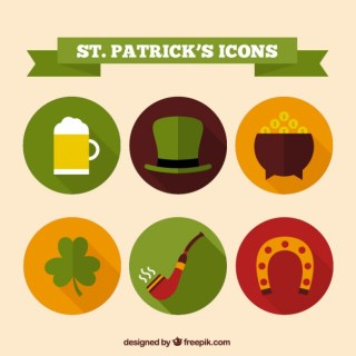 Saint Patricks Icons Free Vector