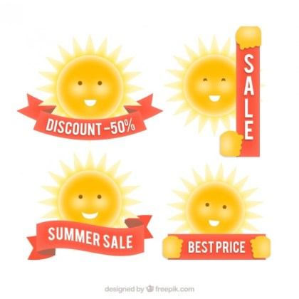 Sale Badges with The Sun Free Vector