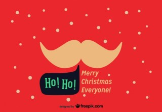 Santa Mustache on a Christmas Postcard Free Vector