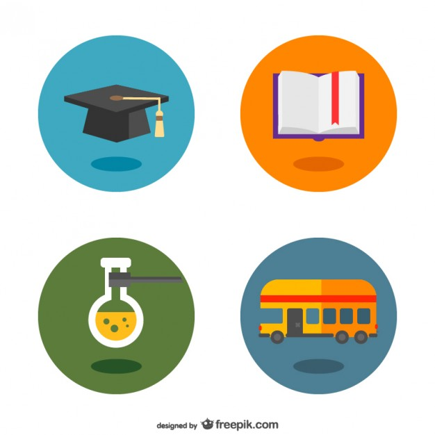 School Flat Pictograms Buttons Free Vector