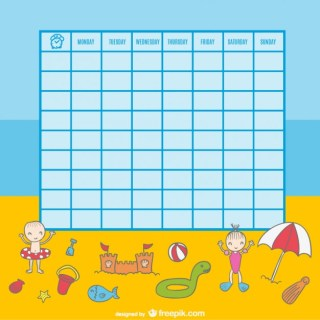 School Timetable of Kids Playing on The Beach Illustration Free Vector