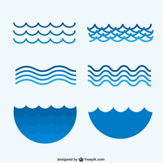 Sea Waves Collection Free Vector