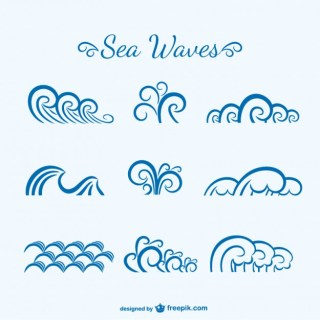 Sea Waves Sketch Free Vector
