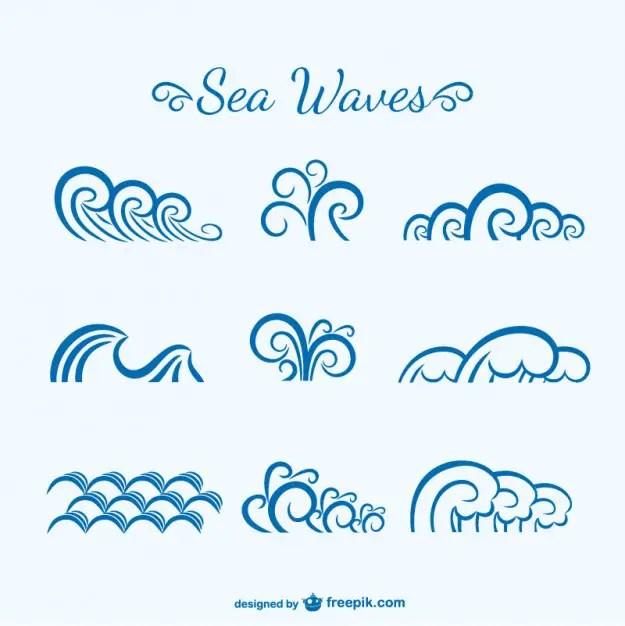 Sea Waves Sketch Free Vector