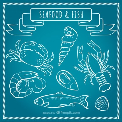 Seafood and Fish Free Vector