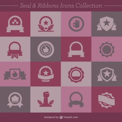 Seal and Ribbons Icons Collection Free Vector