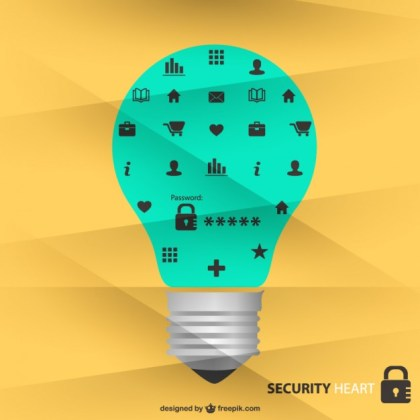 Security Icons Light Bulb Design Free Vector