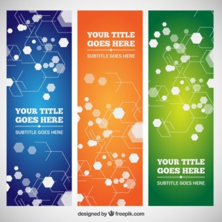 Set of Banners with Geometric Shapes Free Vector