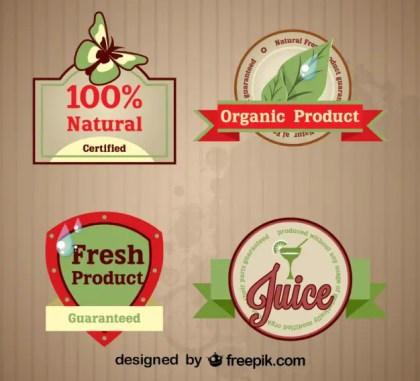 Set of Fresh Organic Labels Free Vector