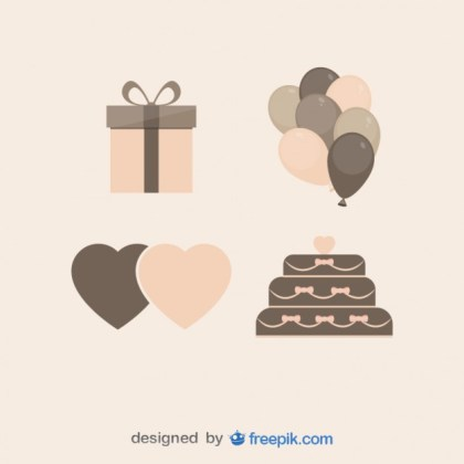 Set of Vintage Wedding Presents Free Vector