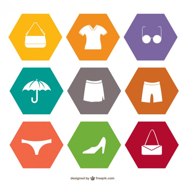 Shopping of Flat Icons Free Vector
