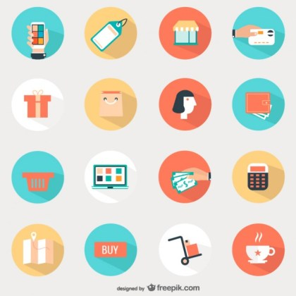 Shopping Round Icons Free Vector