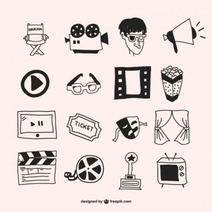 Showtime Hand Drawn Graphics Free Vector