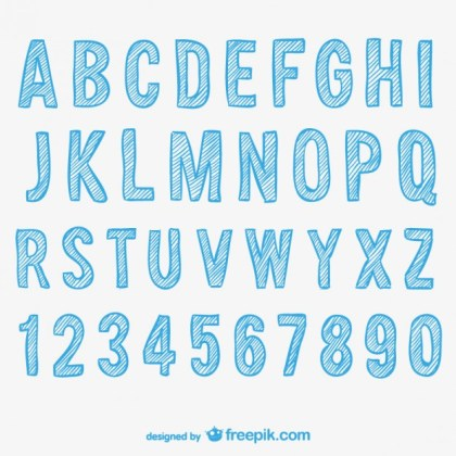 Sketchy Alphabet and Numbers Free Vector