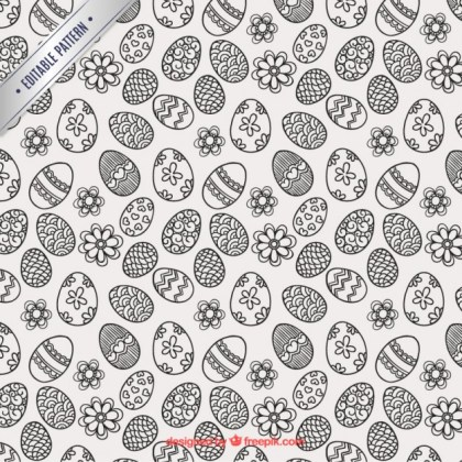Sketchy Easter Eggs Pattern Free Vector