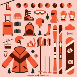 Ski Elements Collection Free Vector