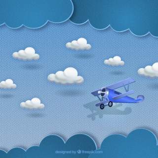 Small Plane Flying in The Clouds Free Vector