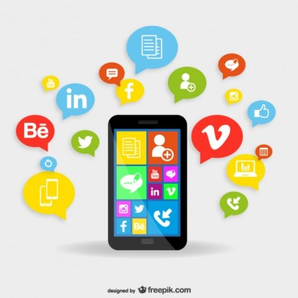 Smartphone Applications Concept Free Vector