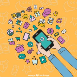 Smartphone Cartoon with Icons Free Vector