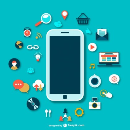 Smartphone with Icons Free Vector