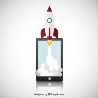 Smartphone with Space Rocket Free Vector