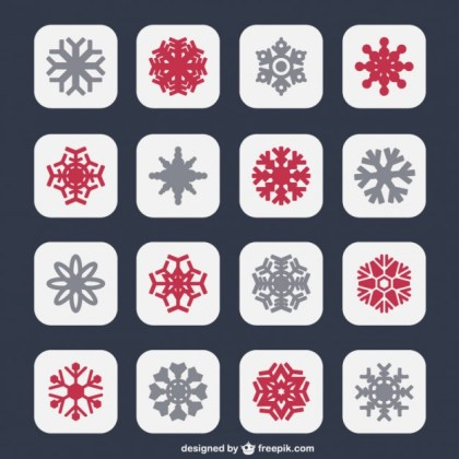 Snowflakes Icons in Two Colors Free Vector