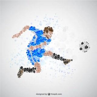 Soccer Player Kicking Football Free Vector