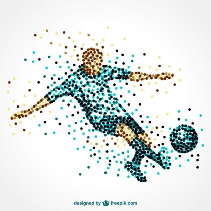 Soccer Player Running with Ball Free Vector