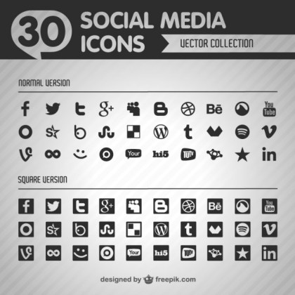Social Flat Black Icons Free Vector