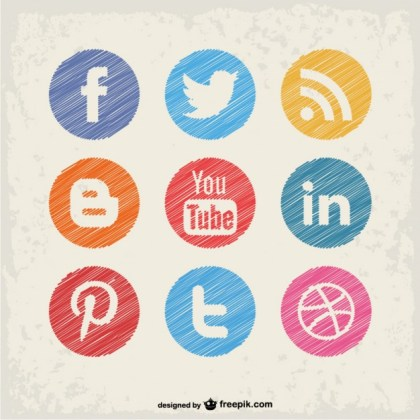Social Media Buttons Free Vector