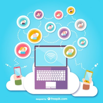 Social Media Cloud Free Vector