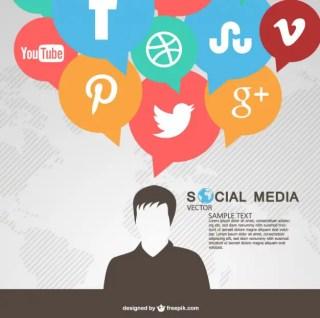 Social Media Communication Bubbles Free Vector