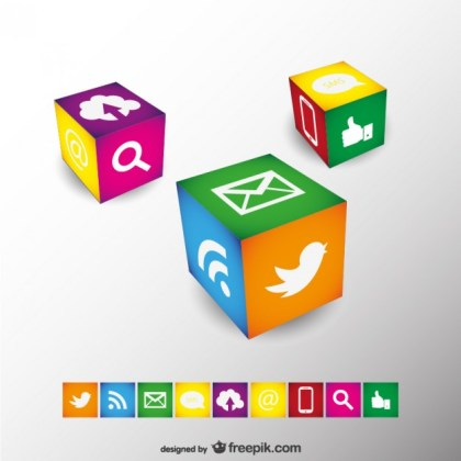 Social Media Cubes Design Free Vector