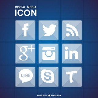 Social Media Icons Blue Geometric Free Vector