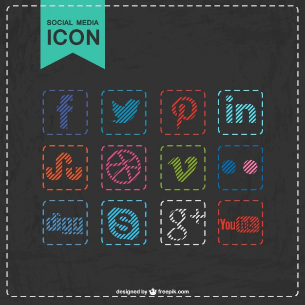Social Media Icons Stitched Design Free Vector