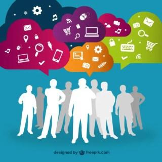 Social Media Interacting People Free Vector