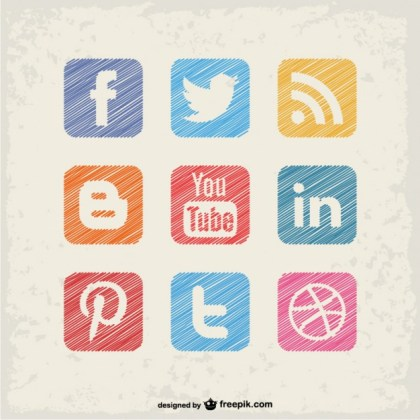Social Media Square Buttons Free Vector