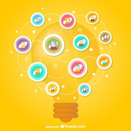 Social Media with Light Bulb Free Vector