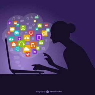 Social Media Woman Silhouette Free Vector