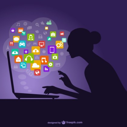 Social Media Woman Silhouette Free Vector