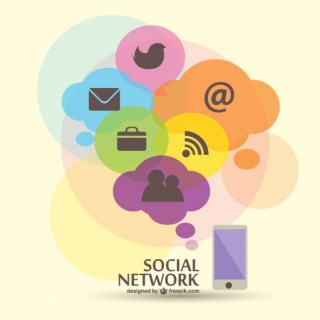 Social Network Flat Illustration Free Vector