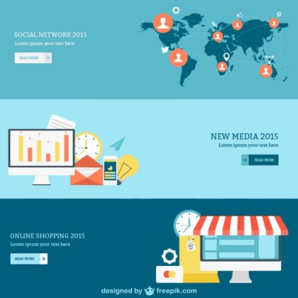 Social Network Media and Online Shopping Banners Free Vector