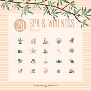 Spa and Wellness Icons Free Vector
