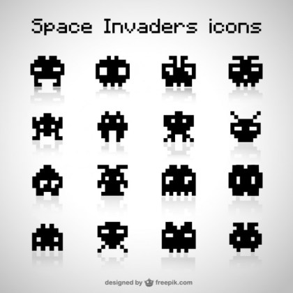 Space Invaders Icons Free Free Vector