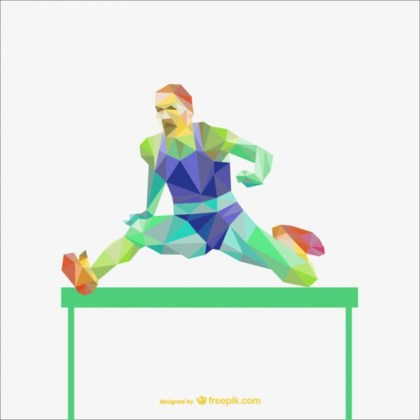 Sportman in a Hurdle Race Polygonal Free Vector