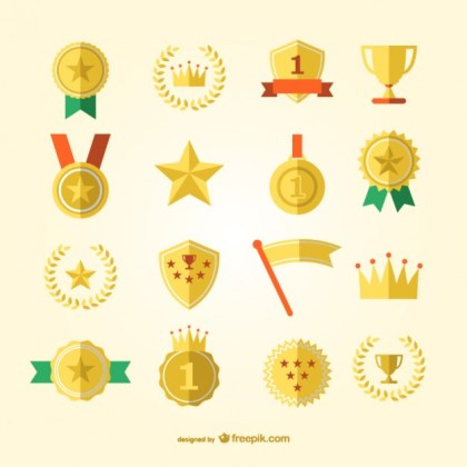 Sports Award and Medals Free Vector