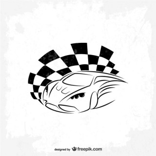 Sports Car Race Flag Logo Free Vector