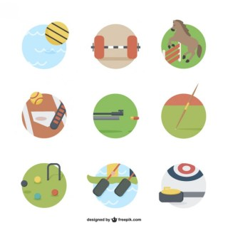 Sports Equipment Icons Free Vector