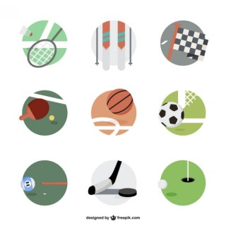 Sports Equipment Round Icons Free Vector